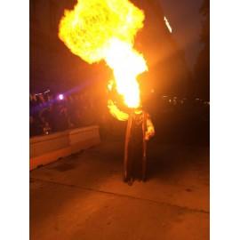 Magiciens avec effets de lumières et du feu
