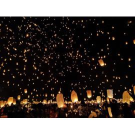 Lâcher de Lanterne Blanches Volantes Thaï Lyon