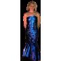 robe longue bleue sans manche moulante brillante paillette sirène