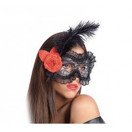 location-masque-loup-dentelle-noire-plume-rose-rouge-lyon