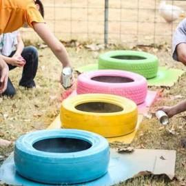 Atelier peinture sur pneu