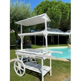 Location Candy Bar Lyon - Chariot rétro blanc en bois pour buffet - Charette à gourmandises